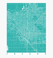 Fresno map turquoise Photographic Print