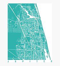 Jupiter map florida turquoise Photographic Print