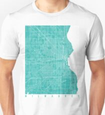 Milwaukee map turquoise T-Shirt