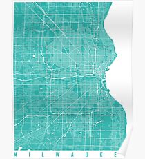 Milwaukee map turquoise Poster