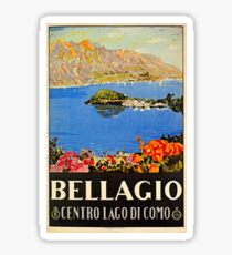 Italy Bellagio Lake Como vintage Italian travel advert Sticker