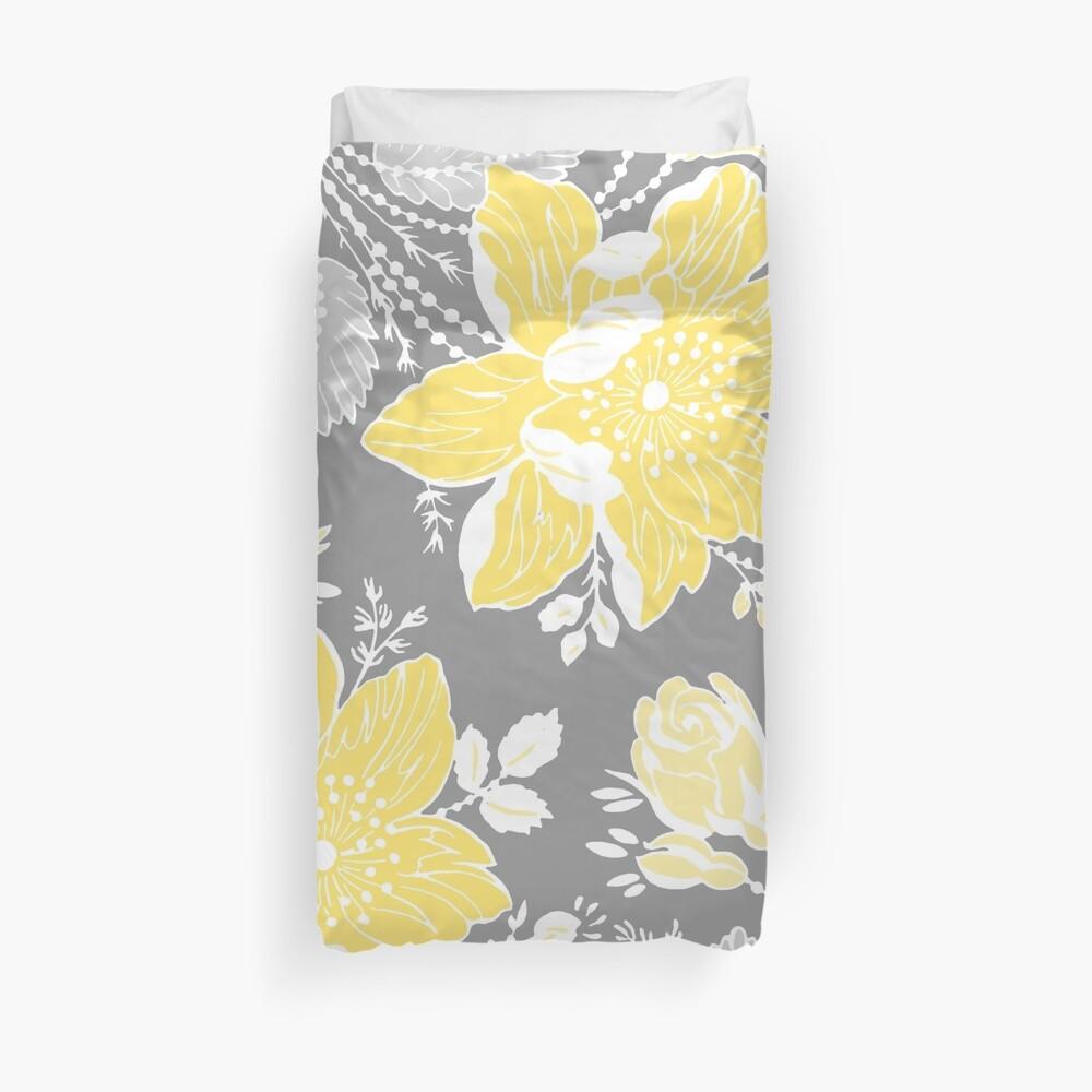 Patrón de flores gris amarillo Funda nórdica