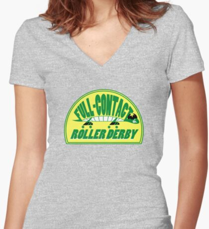 Full-Contact Roller Derby Women's Fitted V-Neck T-Shirt