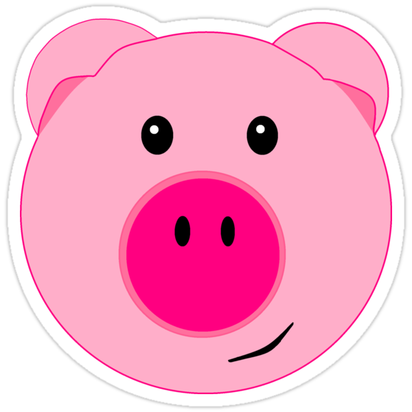 Quot Cute Pink Pig Face Quot Stickers By Beachbumfamily Redbubble