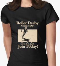 Roller Girl Recruitment Poster (Vintage Black) Womens Fitted T-Shirt