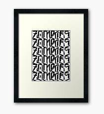 Zombies Zombies Zombies (White) Framed Print