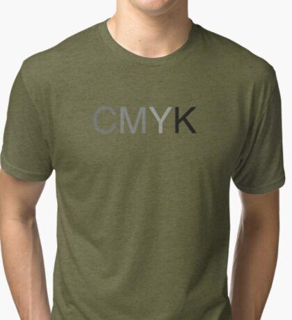 CMYK in B/W Tri-blend T-Shirt
