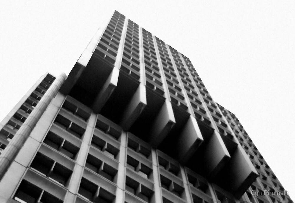 Black and White Crazy Building by Cyn Piromalli