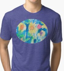 Summer Sunflower Garden In Watercolor and Ink Tri-blend T-Shirt