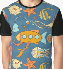 Yellow submarine and fantastic underwater world Graphic T-Shirt