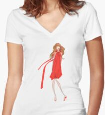 Girl in a Red Dress Women's Fitted V-Neck T-Shirt