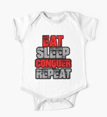 Eat Sleep Conquer Repeat Short Sleeve Baby One-Piece