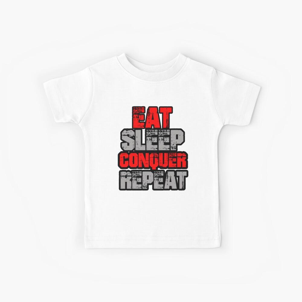 Essen schlafen erobern wiederholen Kinder T-Shirt