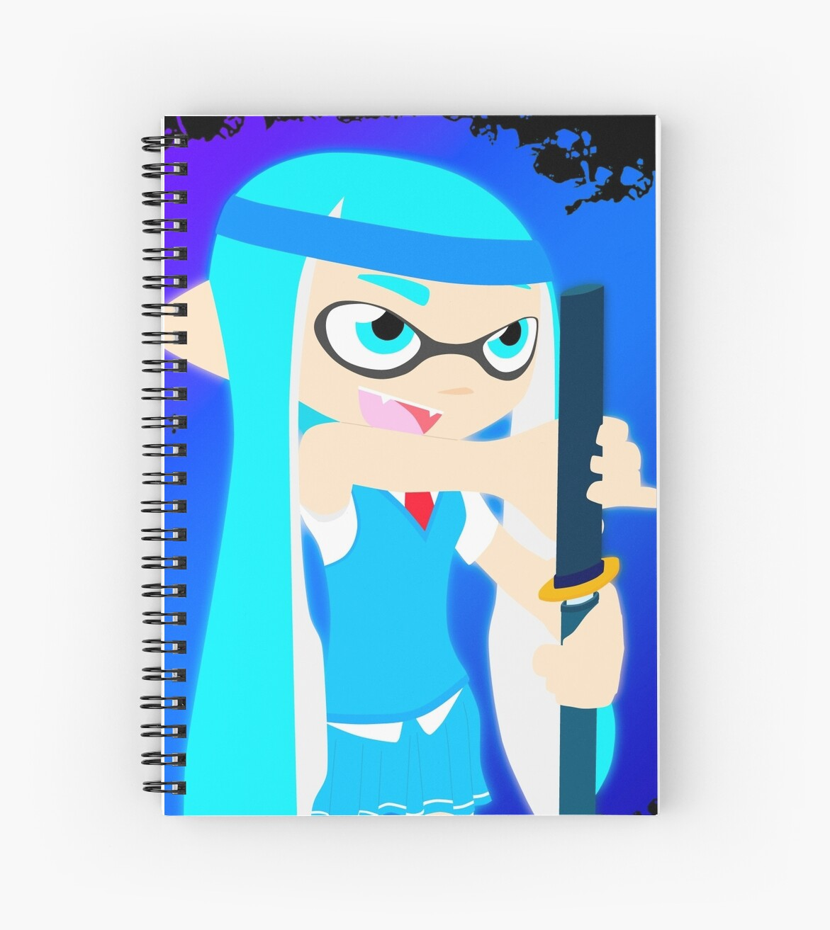 Inkling girl cyan with weapon Yamato from Devil may Cry by DJUMD