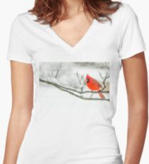 Cardinal In Snow Women's Fitted V-Neck T-Shirt