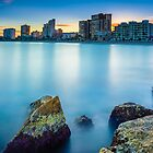 Carrer La Mar south from the breakwater at sunset by Ralph Goldsmith