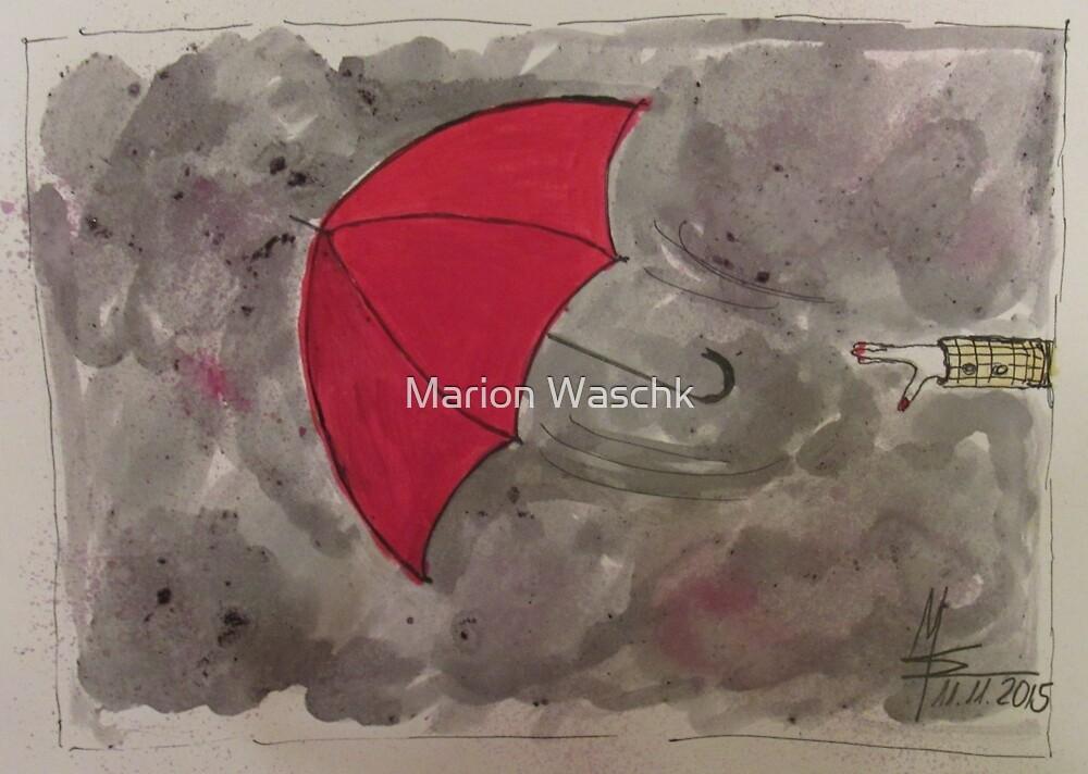 The Red flying Umbrella -Der fliegende rote Regenschirm von Marion Waschk