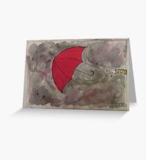 The Red flying Umbrella -Der fliegende rote Regenschirm Greeting Card