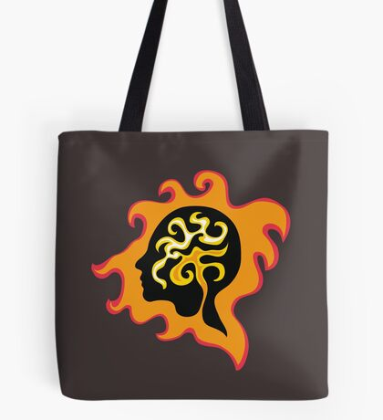 Thought-wave in flames, retro graphic female profile portrait  Tote Bag