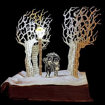 Tumnus and Lucy Narnia book sculpture by daysfall