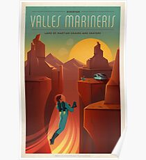Vintage SpaceX Valles Marineris Mars Travel Poster