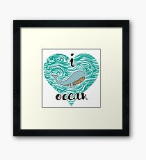 i love ocean (happy whale) Ocean Framed Print