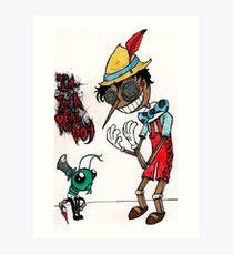 pinocchio and jiminy cricket  Art Print