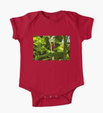 Tropical Impressions - Red Ginger Flower, Framed in Lush Jungle Green One Piece - Short Sleeve
