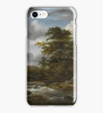 Jacob Isaacksz van Ruisdael, LOW WATERFALL IN A HILLY LANDSCAPE WITH A THATCHED COTTAGE iPhone Case/Skin