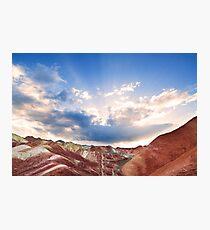 Rainbow Mountains at Sunset Photographic Print