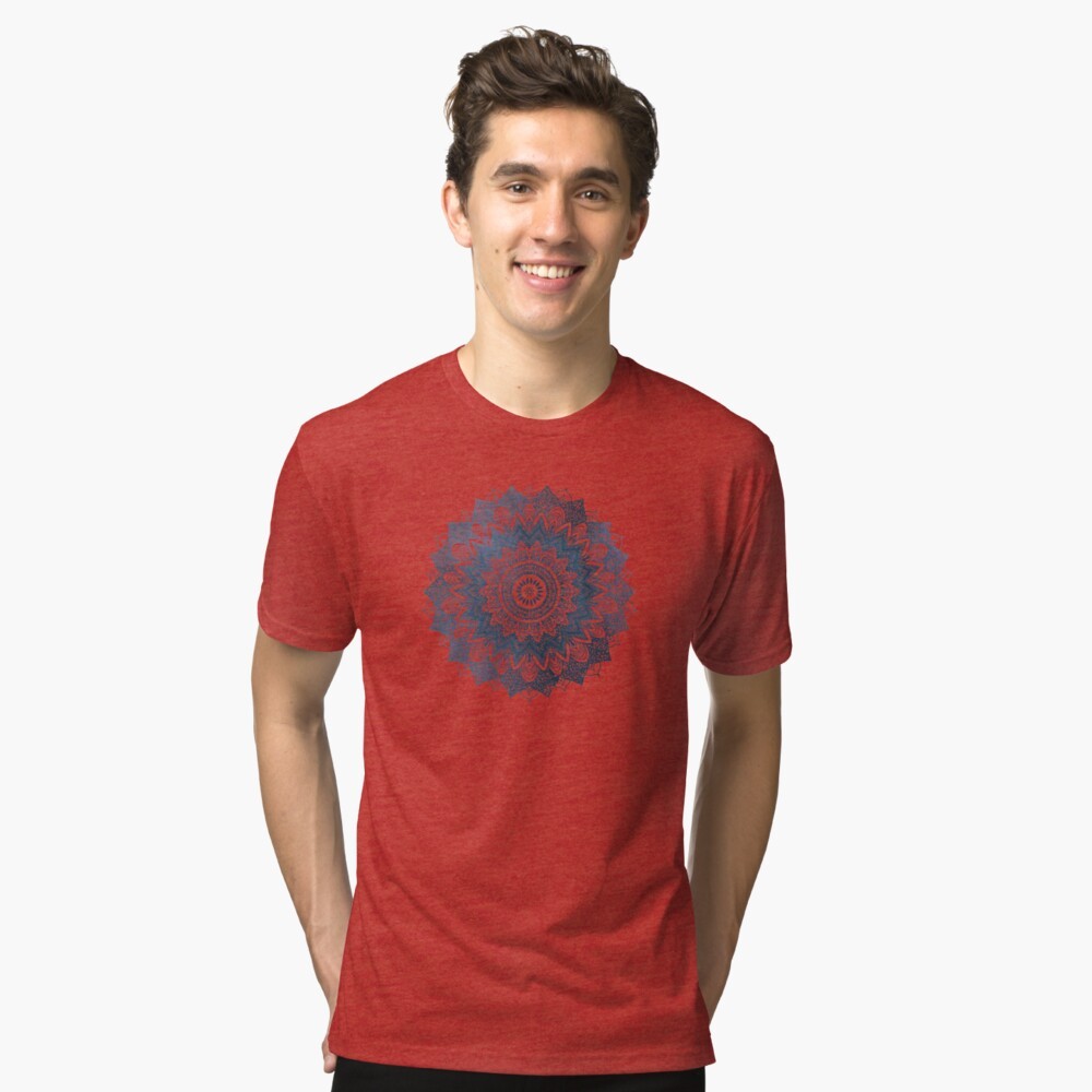 BOHOCHIC MANDALA IN BLUE Tri-blend T-Shirt