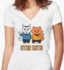 Star Cats Women's Fitted V-Neck T-Shirt