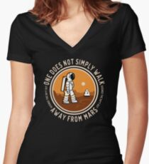 Not Simply Walk Away from Mars Women's Fitted V-Neck T-Shirt