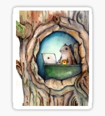 """Spreadsheet Squirrel"" - watercolor squirrel in tree, woodland creatures, squirrel painting, hipster squirrel Sticker"