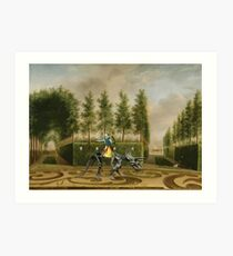 A Formal Garden with Dino Rider Art Print