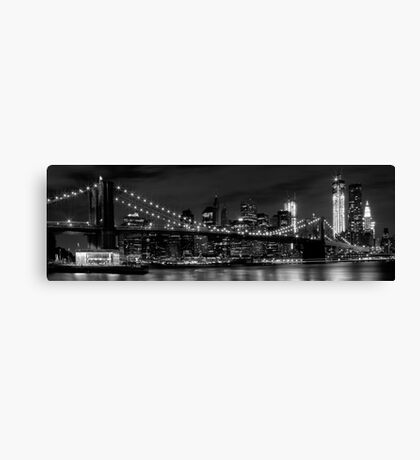 Night-Skyline NEW YORK CITY b&w Canvas Print