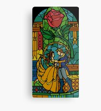 Beauty and The Beast - Stained Glass Metal Print