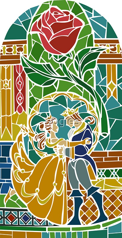 Quot Beauty And The Beast Stained Glass Quot Stickers By Hogies