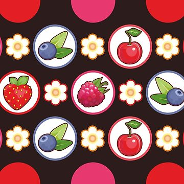 Berry Set Seamless Black Background by Netopir
