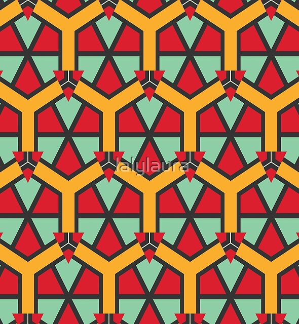 Honeycombs triangles and other shapes pattern by lalylaura