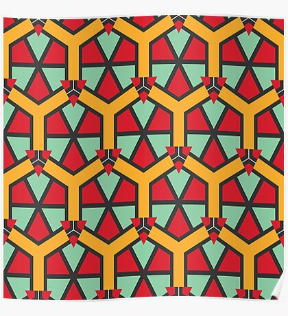 Honeycombs triangles and other shapes pattern Poster