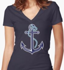White and blue anchor with rope Women's Fitted V-Neck T-Shirt