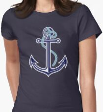 White and blue anchor with rope Womens Fitted T-Shirt