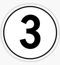 3, Three, Third, Number Three, Number 3, Racing, Competition, on Navy Blue Sticker