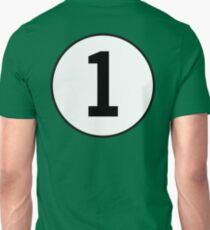 1, First, Number One, ONE, Number 1, Racing, Numero Uno, British Racing Green, Win, Winner Unisex T-Shirt