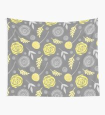 Floral yellow grey Wall Tapestry