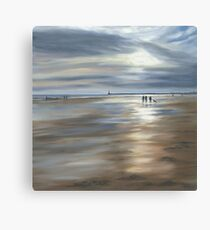 Dog Walkers on a Winter's Morning, Seaburn Canvas Print