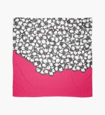 Hand Drawn Black and White Flowers on Hot Pink Scarf