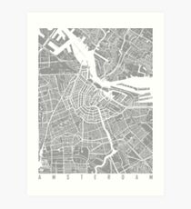 Amsterdam map grey Art Print