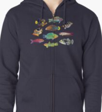Tropical Fish of the World Zipped Hoodie